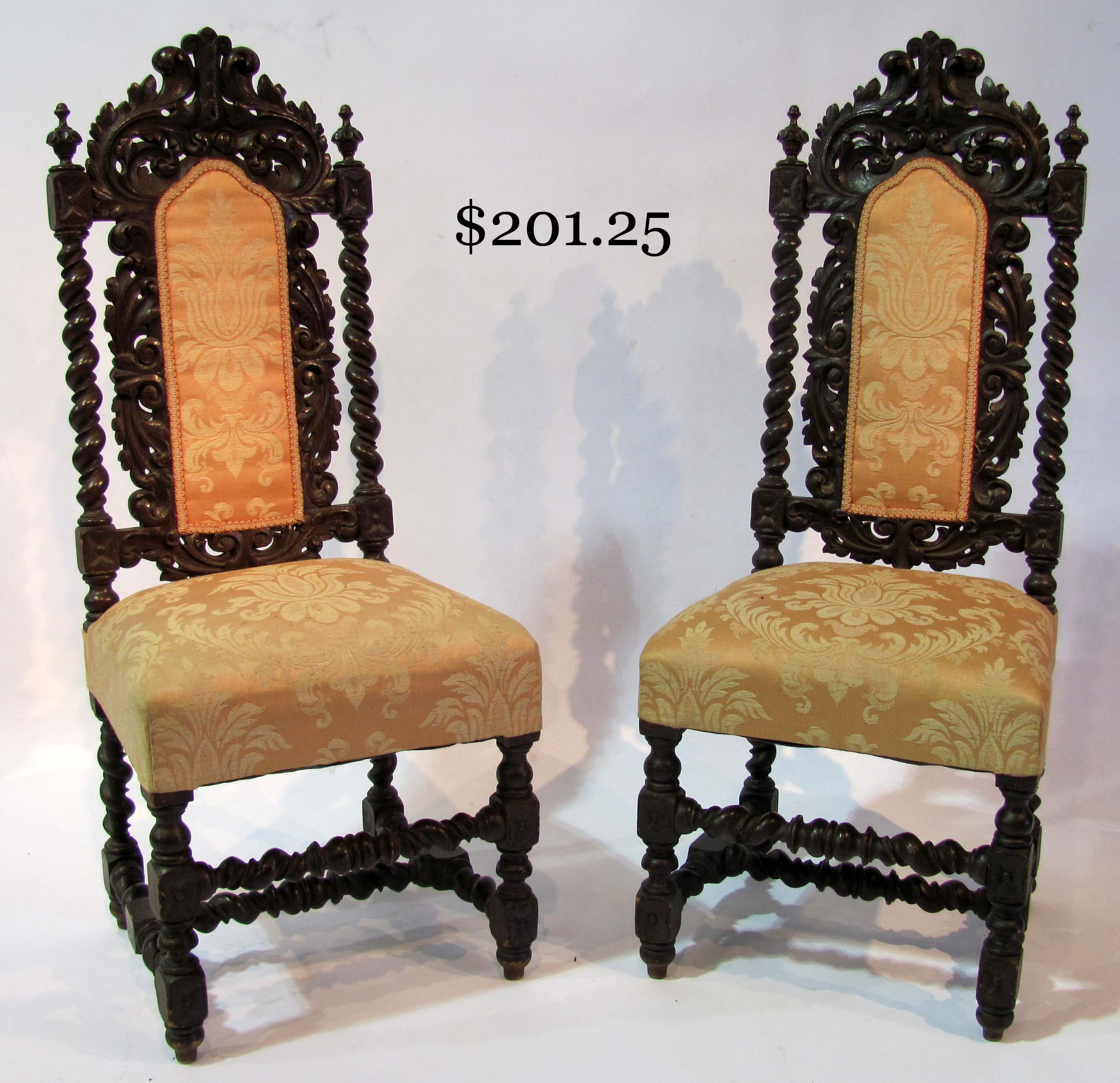 Pair Of Early 20th Century Carved Birch Chairs Edwardian (1901-1910)
