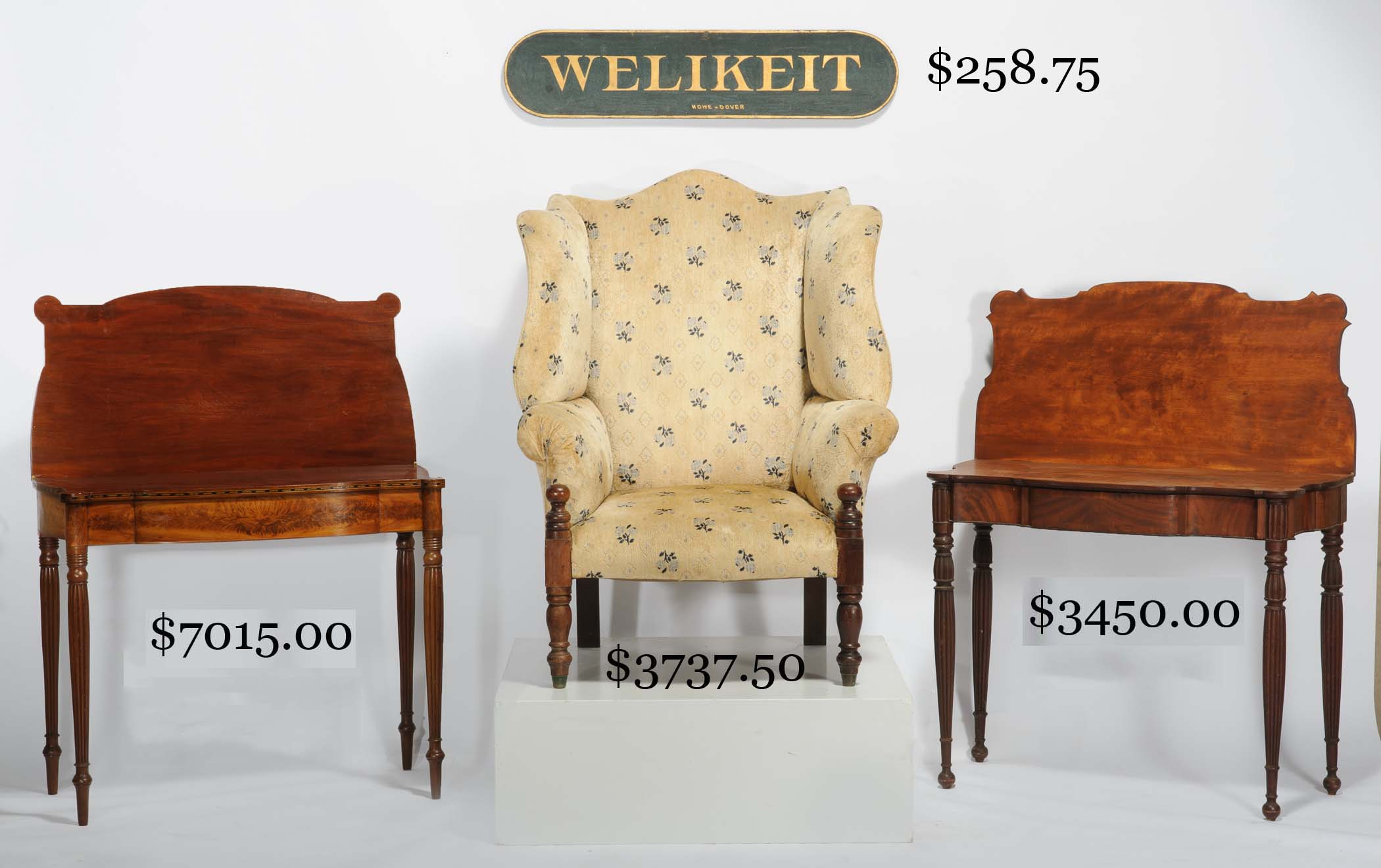 portsmouth wing chair on turned post legs attributed to samuel dockum