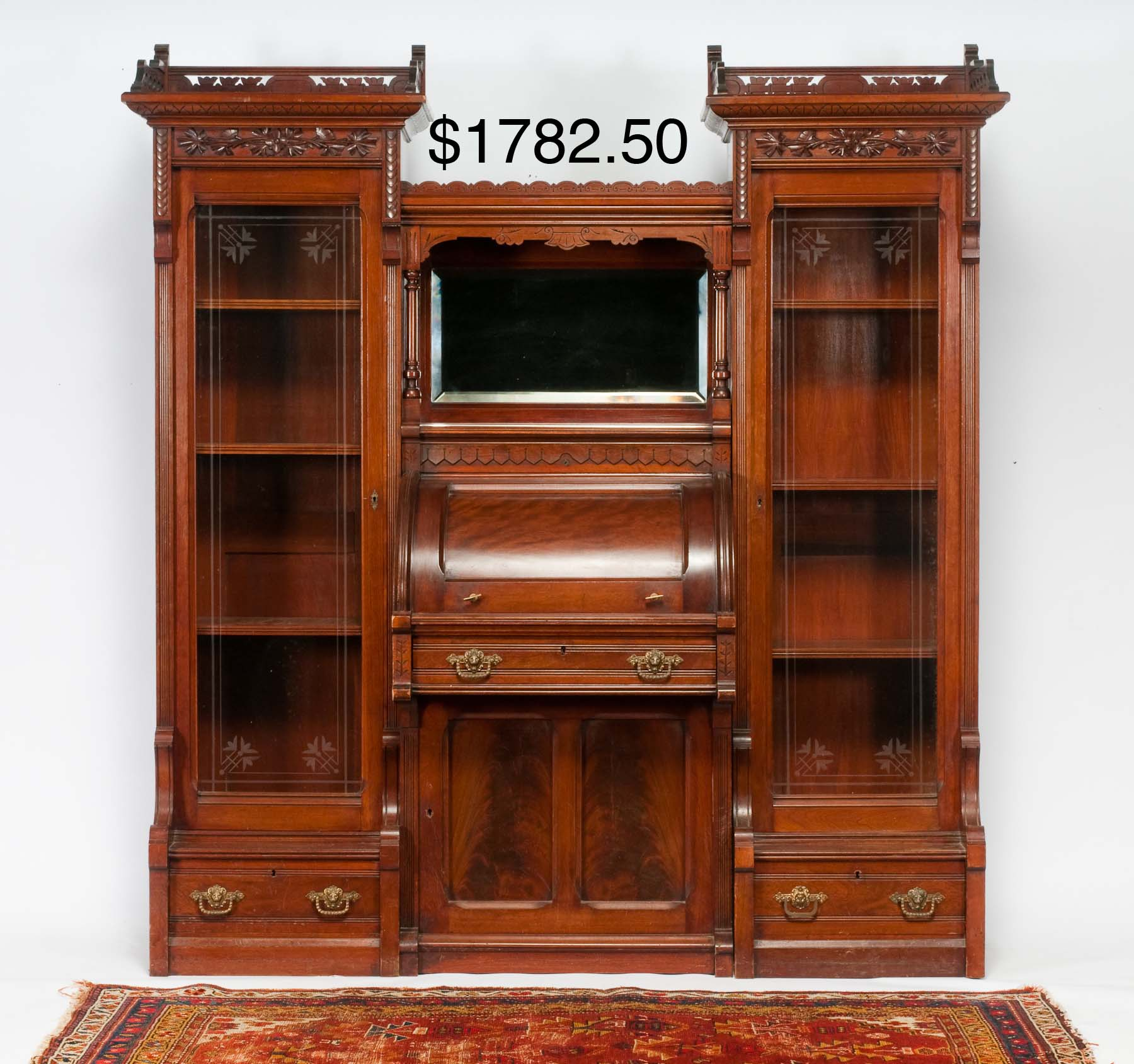 Section Walnut Cylinder Secretary Desk