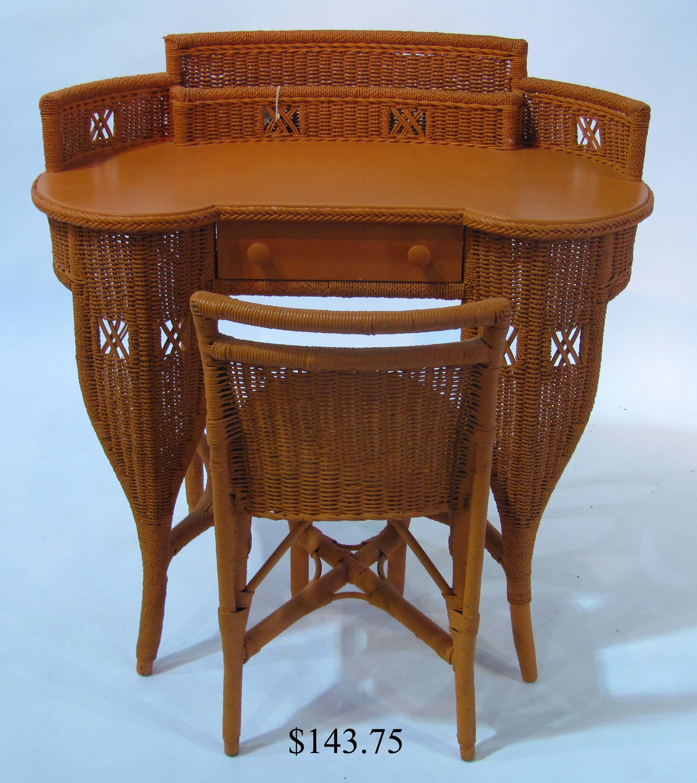 Distinctive Kidney Shaped Wicker Writing Desk And Chair
