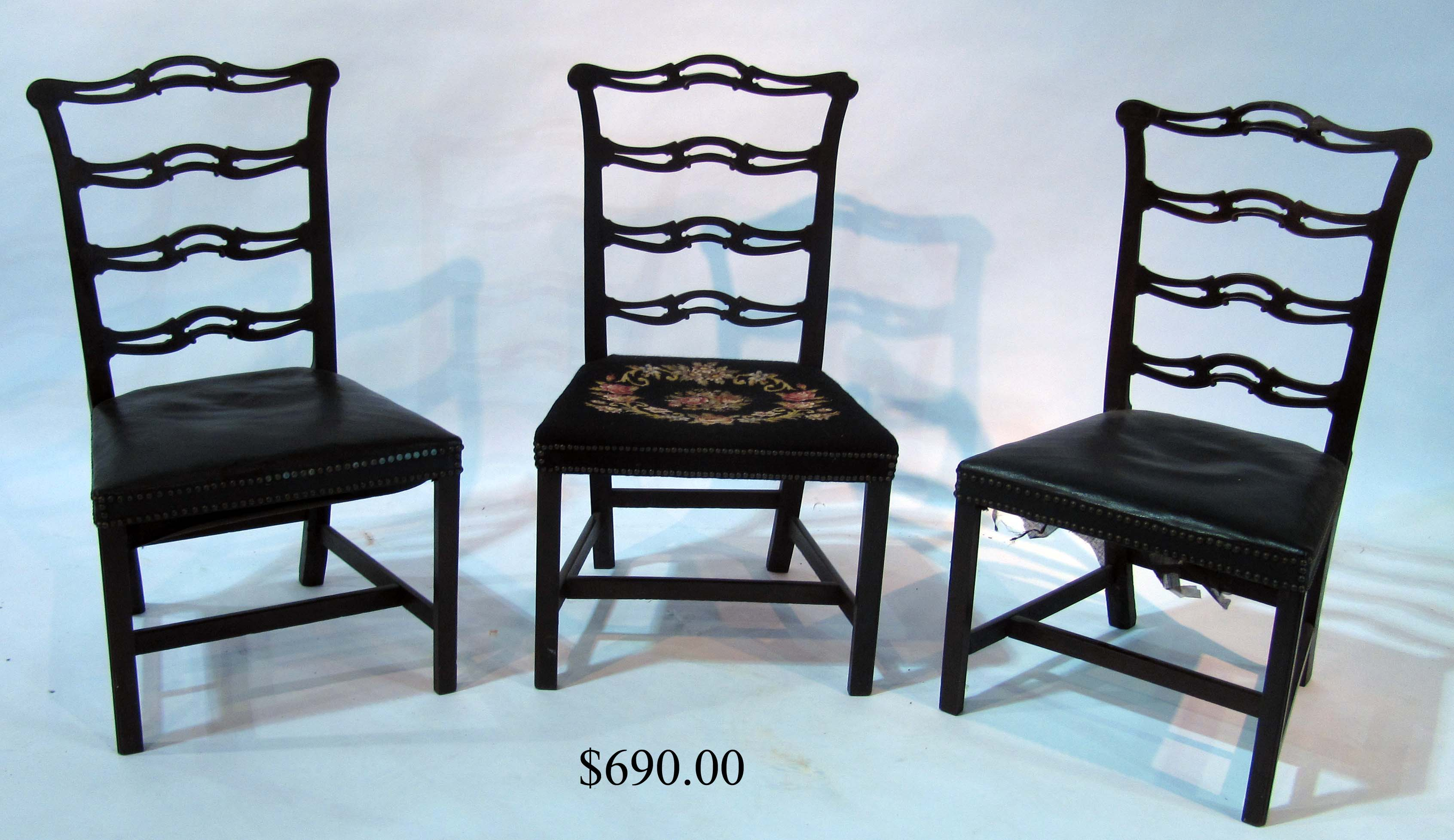 Set Of Three Chippendale Mahogany Ribbonback Side Chairs ...