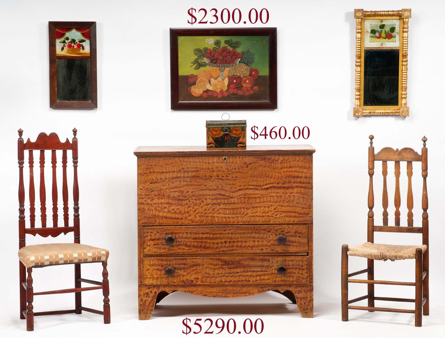 43 In. Paint Decorated Bow Front Four Drawer Maine Chest On High Turned  Legs. Set Of Fourteen Stenciled And Grain Painted Plank Seat Maine Windsors.