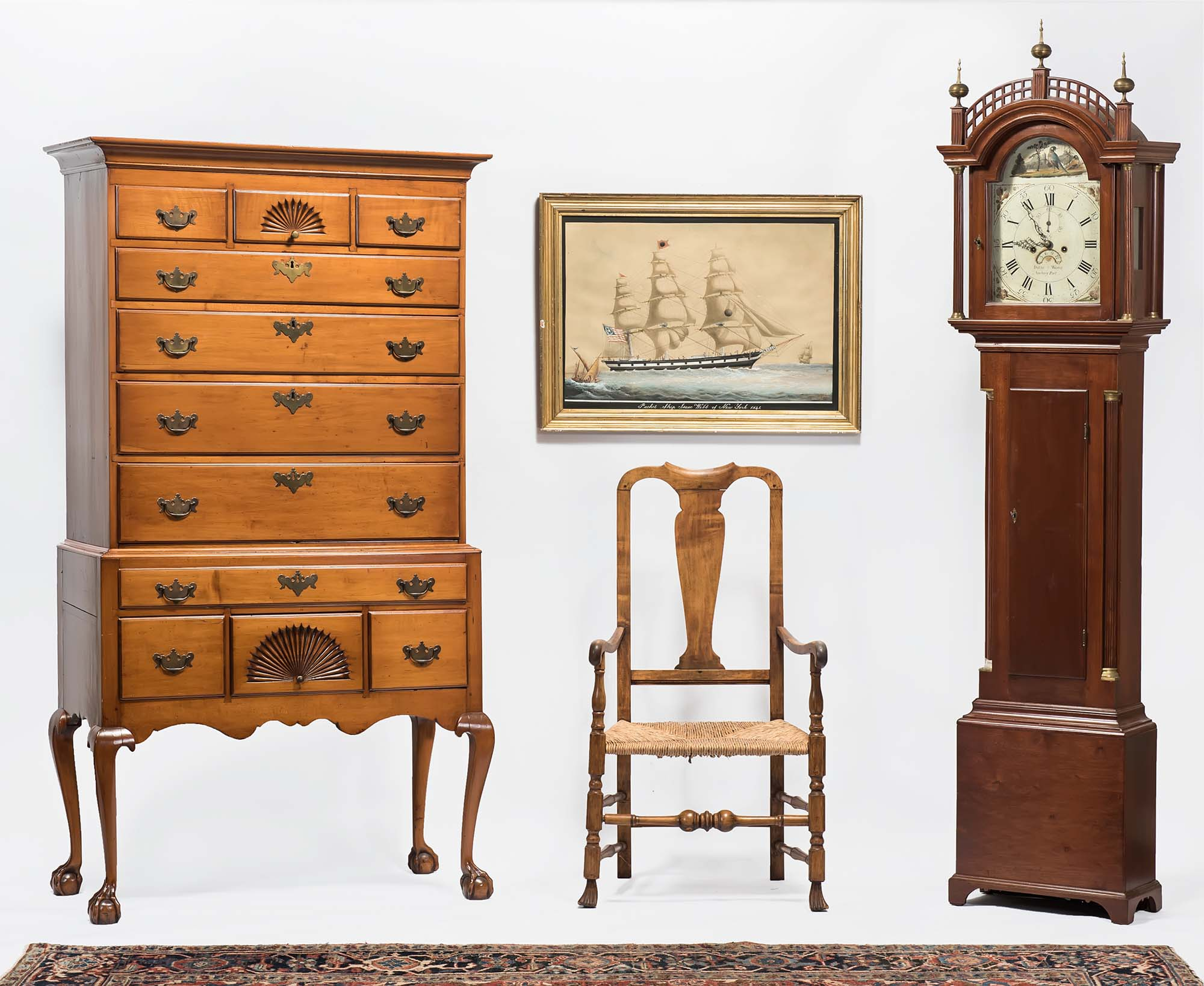 FURNITURE: 82 In. NH Maple Highboy On Ball And Claw Feet With Fan Carved  Center Drawers. 82 In. David Wood, Newburyport ...