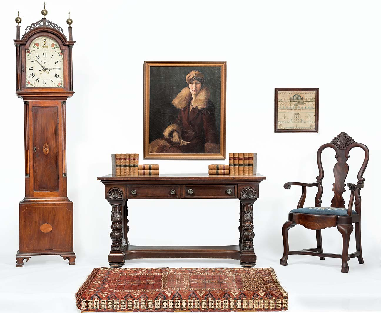 Maple Tall Case Clock The Dial Marked R Perkins Jaffrey No 71 Pair Pierced Back Chippendale Side Chairs With Fan Carved Crests And Ears