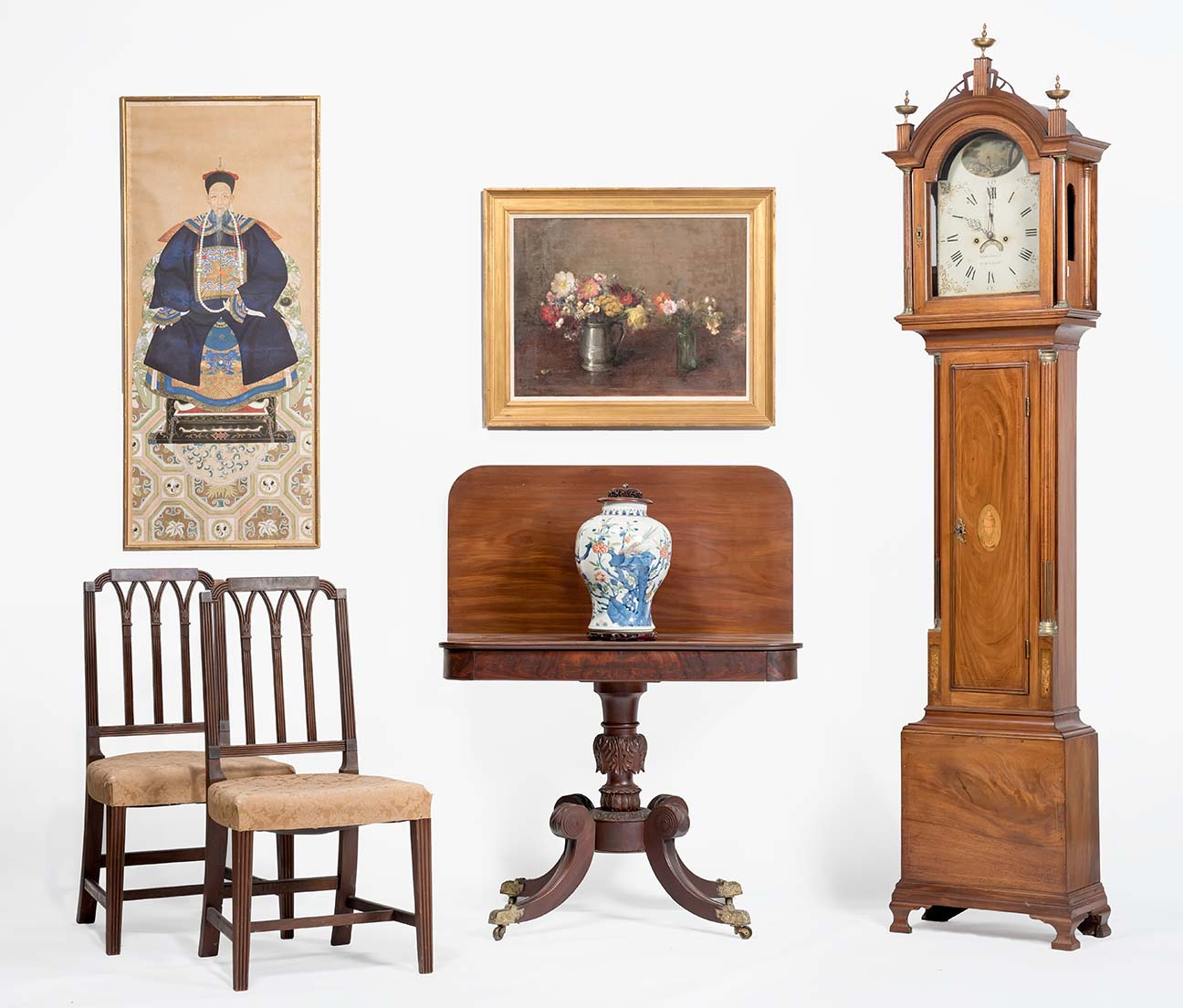 Maple tall case clock, the dial marked R. Perkins, Jaffrey No. 71. Pair  pierced back Chippendale side chairs with fan-carved crests and carved  ears, ... - 09/10/16.antiques.html