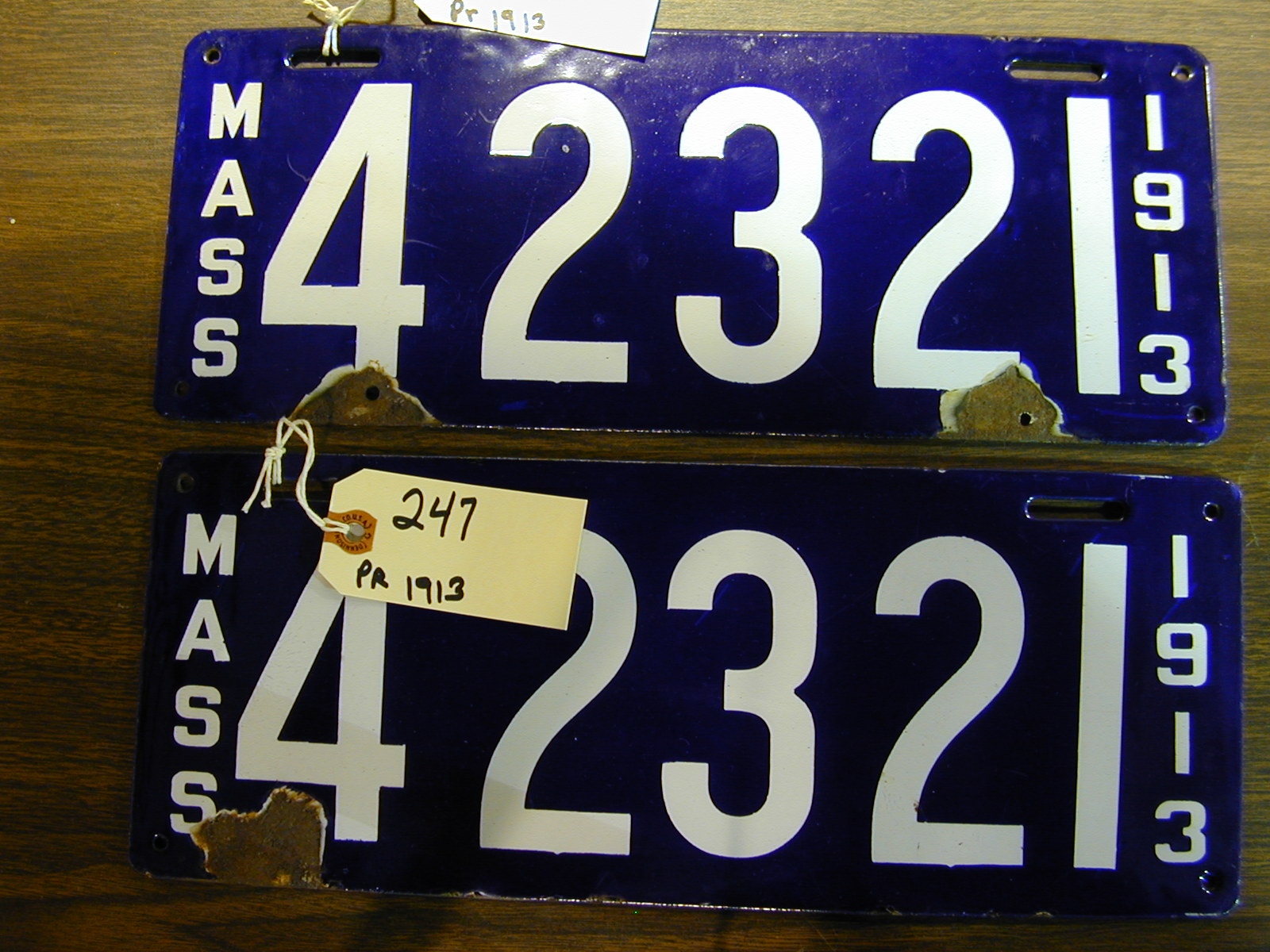 LOT #250 Pair MA 1914 license plates. LOT #251 Pair MA 1957 Hackney Carriage license plates & Hap Moore Antiques Auction April 29 2006