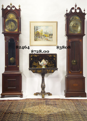 1900 English Mahogany Tall Case Clock With Silver Plated Dial On Brass.  Hoadley Style Tall Case Clock. Grain Painted Empire Commode. Two Tier Faux  Bamboo ...